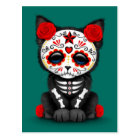 Cute Red Day of the Dead Kitten Cat, teal blue Postcard