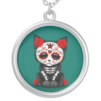 Cute Red Day of the Dead Kitten Cat, teal blue Silver Plated Necklace