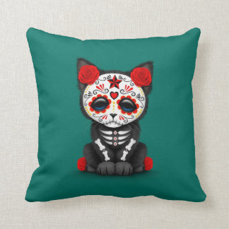 Cute Red Day of the Dead Kitten Cat, teal blue Throw Pillow