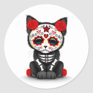 Cute Red Day of the Dead Kitten Cat, white Classic Round Sticker