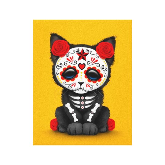 Cute Red Day of the Dead Kitten Cat,