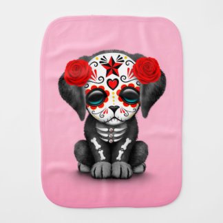 Cute Red Day of the Dead Puppy Dog Pink Burp Cloths