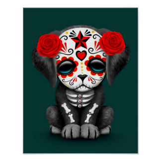 Cute Red Day of the Dead Puppy Dog Teal Posters