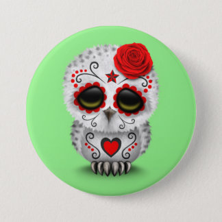 Cute Red Day of the Dead Sugar Skull Owl Green 7.5 Cm Round Badge