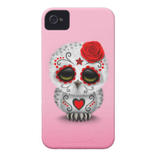 Cute Red Day of the Dead Sugar Skull Owl Pink iPhone 4 Case-Mate Cases