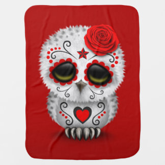 Cute Red Day of the Dead Sugar Skull Owl Red Stroller Blankets