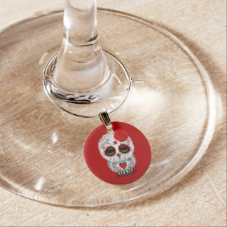 Cute Red Day of the Dead Sugar Skull Owl Red Wine Charm