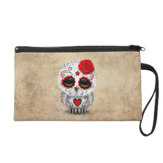 Cute Red Day of the Dead Sugar Skull Owl Rough Wristlets