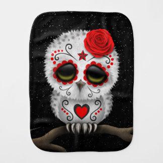 Cute Red Day of the Dead Sugar Skull Owl Stars Baby Burp Cloths