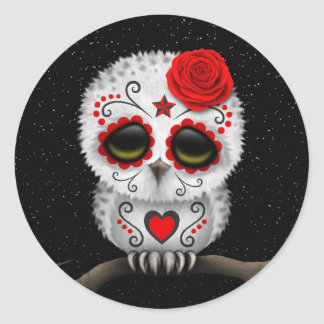 Cute Red Day of the Dead Sugar Skull Owl Stars Round Sticker