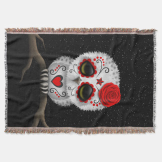 Cute Red Day of the Dead Sugar Skull Owl Stars Throw Blanket
