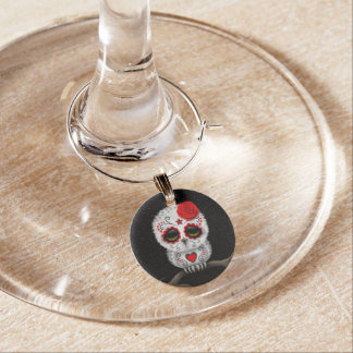 Cute Red Day of the Dead Sugar Skull Owl Stars Wine Charm