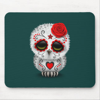 Cute Red Day of the Dead Sugar Skull Owl Teal Mouse Pads