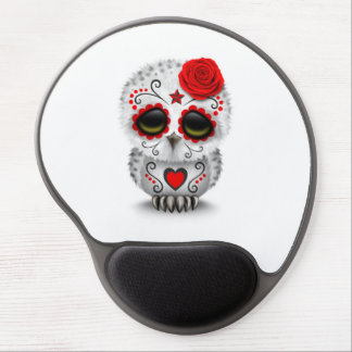 Cute Red Day of the Dead Sugar Skull Owl White Gel Mouse Pads