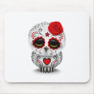 Cute Red Day of the Dead Sugar Skull Owl White Mouse Pad