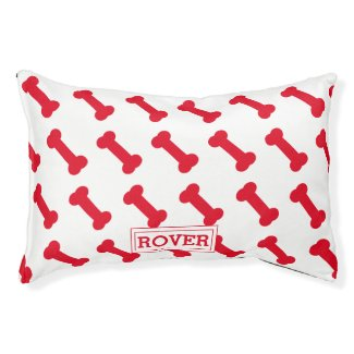 Cute Red Dog Bone Pattern Personalised Pet Bed