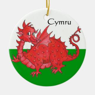 Cute Red Dragon, Green and White Ceramic Ornament