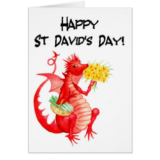 Cute Red Dragon Leeks Daffodils St David's Day Card