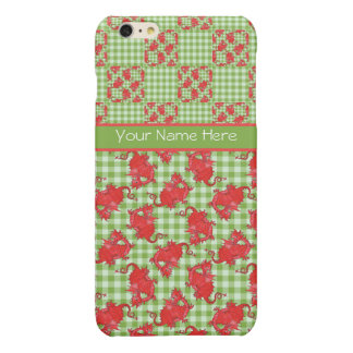 Cute Red Dragons on Green and White Check Gingham iPhone 6 Plus Case