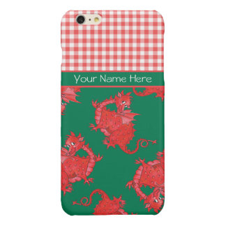 Cute Red Dragons on Green, Red White Check Gingham iPhone 6 Plus Case
