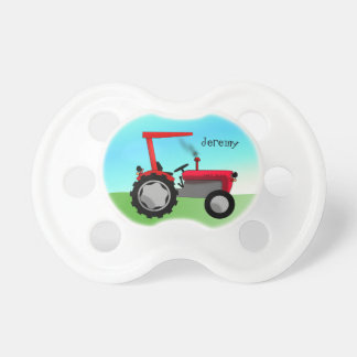 Cute Red Farm Tractor Baby Pacifier