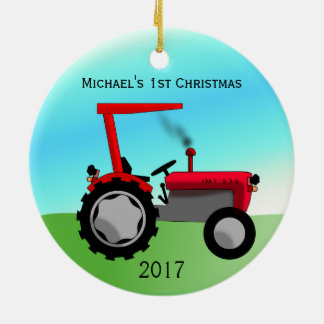 Cute Red Farm Tractor Baby's First Christmas Christmas Ornament