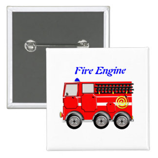 Cute Red Fire Engine Boys Button Badge