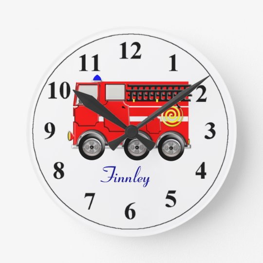 Cute Red Fire Engine Personalised Boys Room Clock