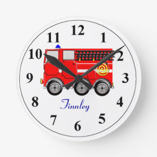 Cute Red Fire Engine Personalized Boys Room Clock