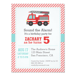 Cute Red Fire Truck Birthday Party Invitation