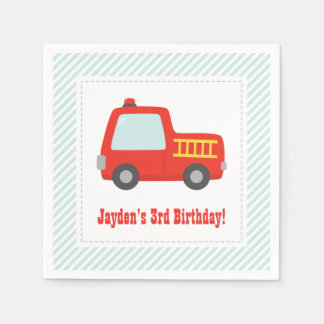 Cute Red Fire Truck Boys Birthday Party Supplies Paper Napkin