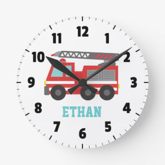 Cute Red Fire Truck for Boys Bedroom Round Clock