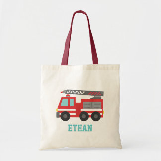 Cute Red Fire Truck for Boys Name Bags