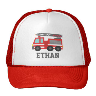 Cute Red Fire Truck for Boys, Name Cap
