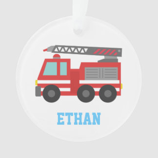 Cute Red Fire Truck for Boys, Name Ornament