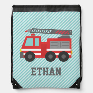 Cute Red Fire Truck for Boys Name Drawstring Bags