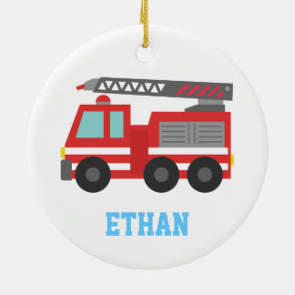 Cute Red Fire Truck for Boys, Name Round Ceramic Decoration