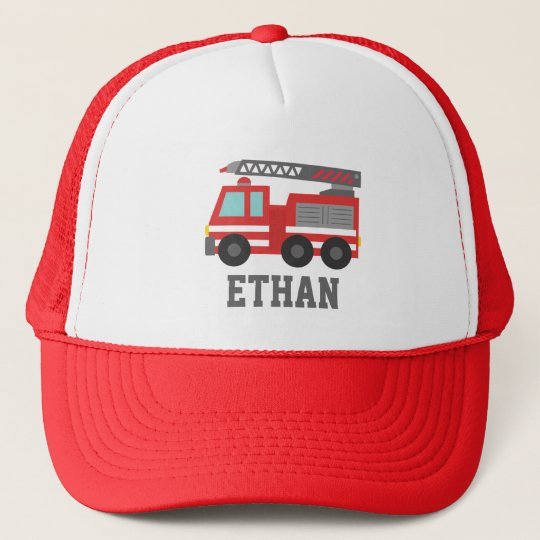 Cute Red Fire Truck for Boys, Name Trucker