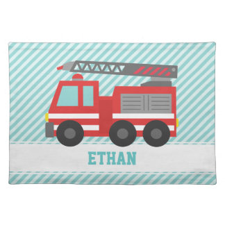 Cute Red Fire Truck for Little Boys Placemat