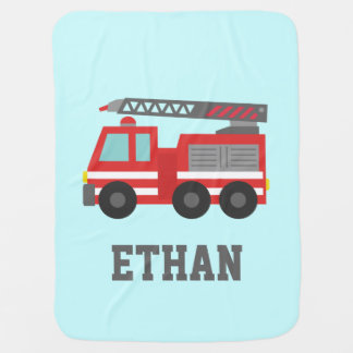 Cute Red Fire Truck for Little Fire fighters Baby Blankets