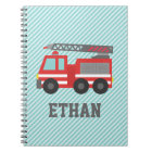 Cute Red Fire Truck for Little Fire fighters Notebook