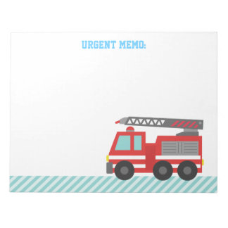 Cute Red Fire Truck for Little Fire fighters Notepad