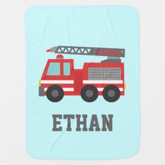 Cute Red Fire Truck for Little Fire fighters Stroller Blanket