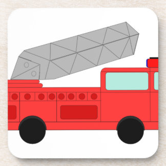 Cute Red Firetruck Drink Coaster