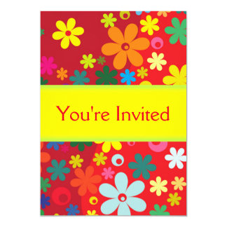 Cute Red Floral Party Invitation