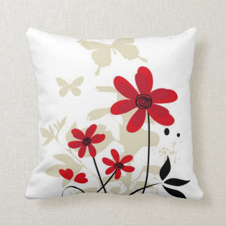 Cute red flowes and butterflies cushion