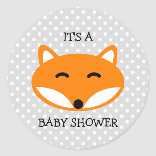 Cute red fox baby shower stickers with polka