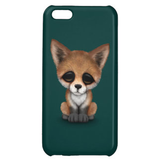 Cute Red Fox Cub on Teal Blue iPhone 5C Cover