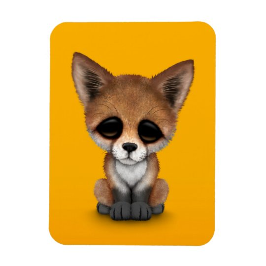 Cute Red Fox Cub on Yellow Rectangular Photo