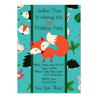 Cute Red Fox Design Children's Birthday Invitation